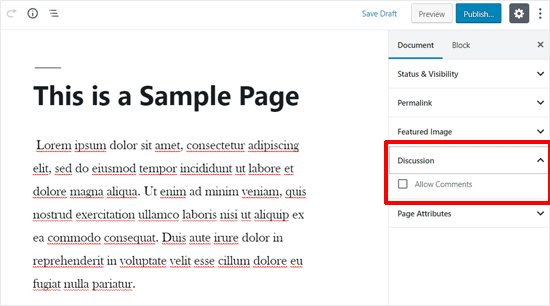 Comment Options in WordPress Pages