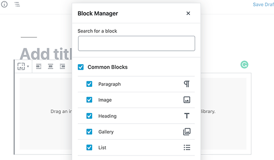 The new block manager in WordPress
