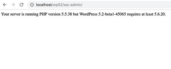PHP version notice in WordPress 5.2 beta