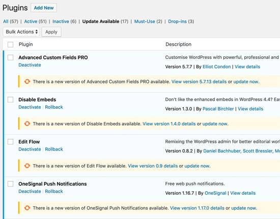 Pembaruan Plugin WordPress Satu Per Satu