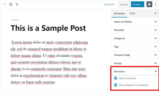 WordPress Post Comments Enabled