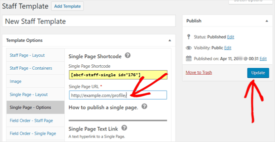 Add Staff Member Single Page URL to your Template Options