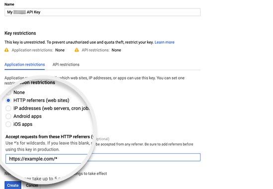 Browser api key settings