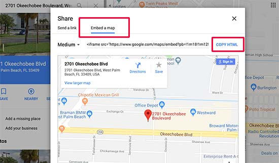 Copy the Google Maps embed code