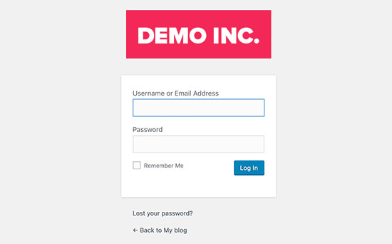 WordPress login page with custom logo