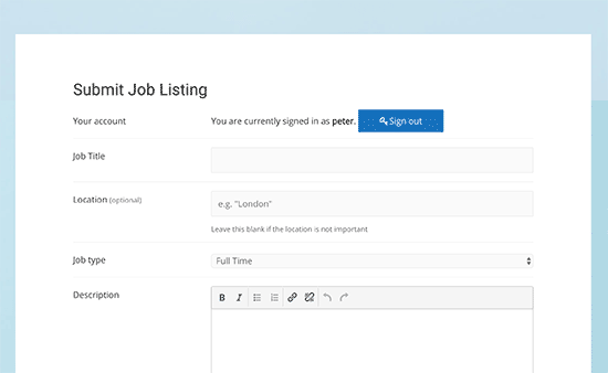 Submit job listing page