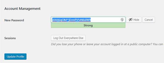 Автоматический пароль в WordPress