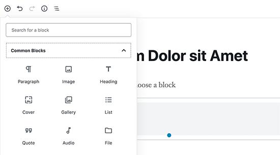Using blocks in WordPress content editor