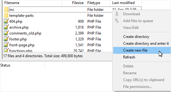 Create a new comments file