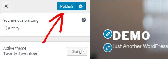 Publicar la configuración del personalizador de WordPress