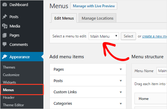 Select a navigation menu to edit