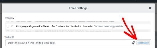 Configuración de la línea de asunto para la explosión del correo electrónico en contacto constante