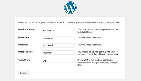 Informasi database WordPress