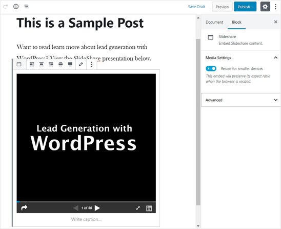SlideShare Presentation Added in WordPress Editor