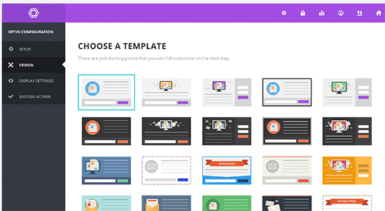 Choose a popup template in Bloom