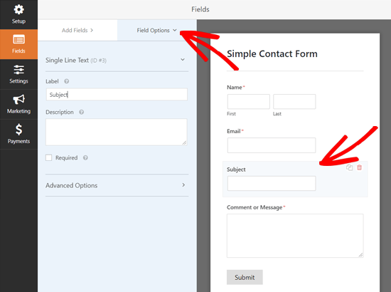 Configuring Field Options in WPForms Plugin