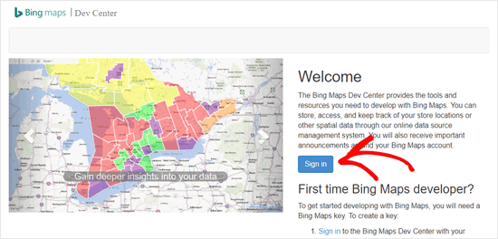 Sign in to Bing Dev Center