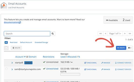 Membuat akun email baru di Bluehost