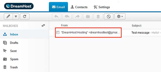 UI email web Dreamhost