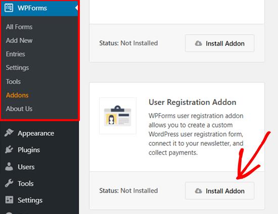 Install WPForms User Registration Addon