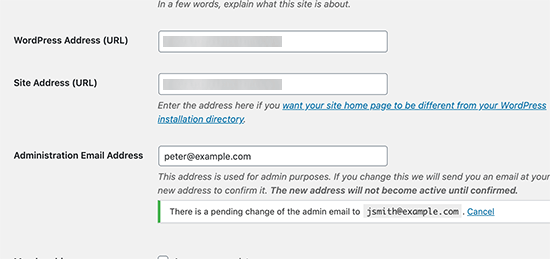 Verify site admin email address