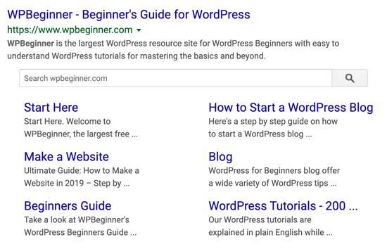 WPBeginner Google Sitelinks