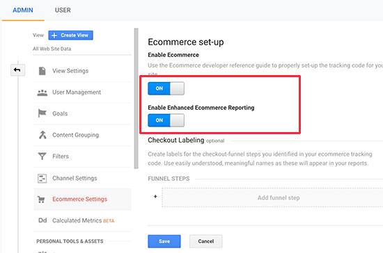 enable eCommerce in Google Analytics
