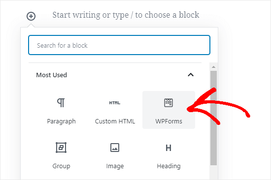 Adding a form to your page using the block editor (Gutenberg)