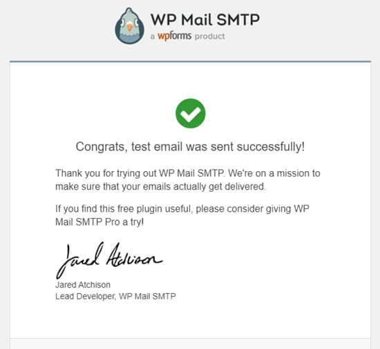 The test email from WP Mail SMTP