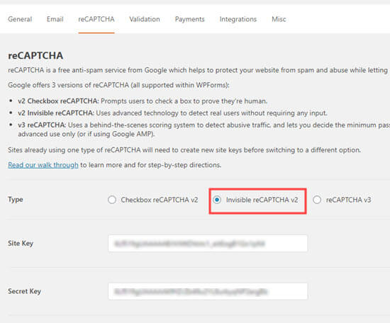 Selecting the invisible reCAPTCHA option in WPForms