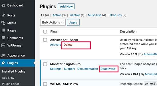 WordPress Eklentisini Kaldırma