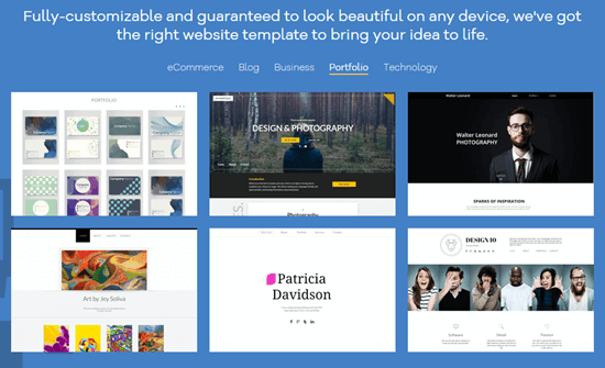 Some of the templates available with the Gator website builder