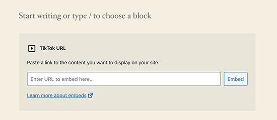 TikTok embed in WordPress 5.4