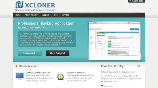 The XCloner plugin for WordPress