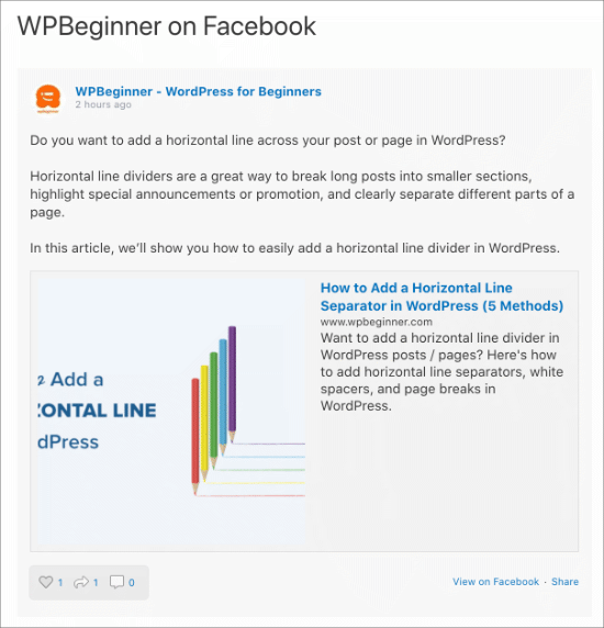 Facebook feed on WordPress page