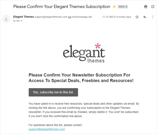 Confirmation email (double optin) from Elegant Themes