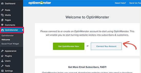 OptinMonster'ı WordPress hesabınıza bağlayın