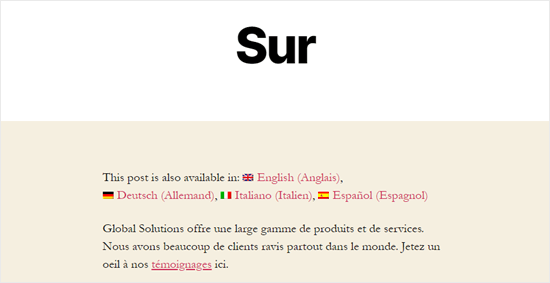 The About page, translated into French