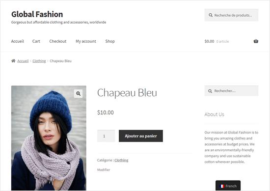 Halaman Blue Hat, sebagian diterjemahkan ke dalam bahasa Prancis