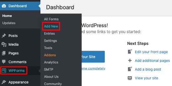 Add a new form in WPForms