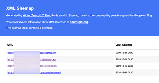 All in One SEO XML sitemap preview