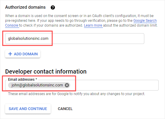 Entering your domain and contact email address