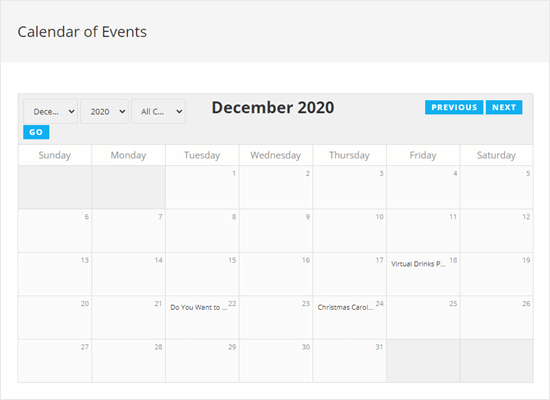 Viewing the calendar of events on your website