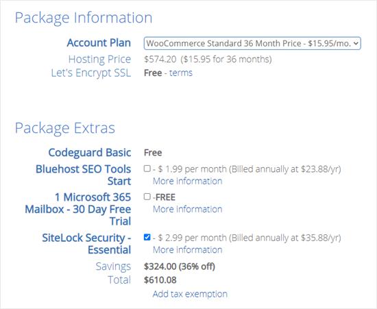 Memeriksa dan mengonfirmasi detail paket host web Anda dengan Bluehost