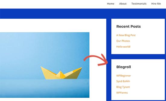 Blogroll sidebar preview