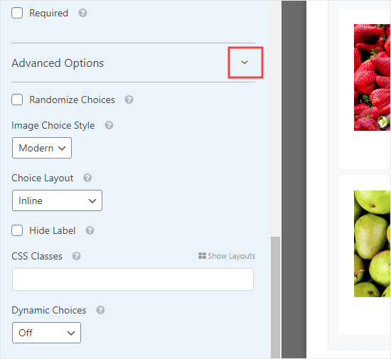 Open up the Advanced Options to fine-tune how your images display