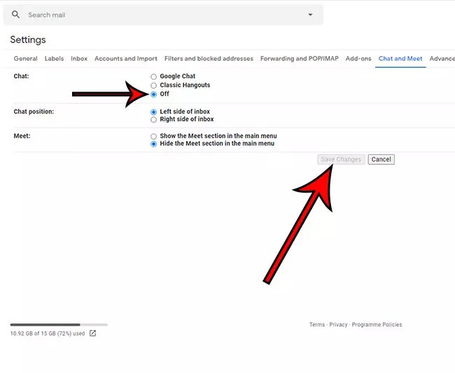 how to remove chat from Gmail