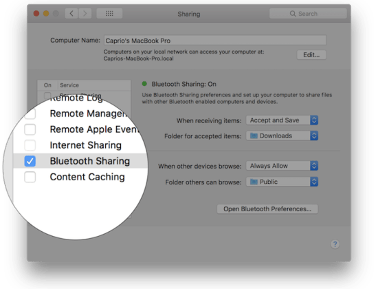 Enable Bluetooth file sharing with your Android phone and MacOs