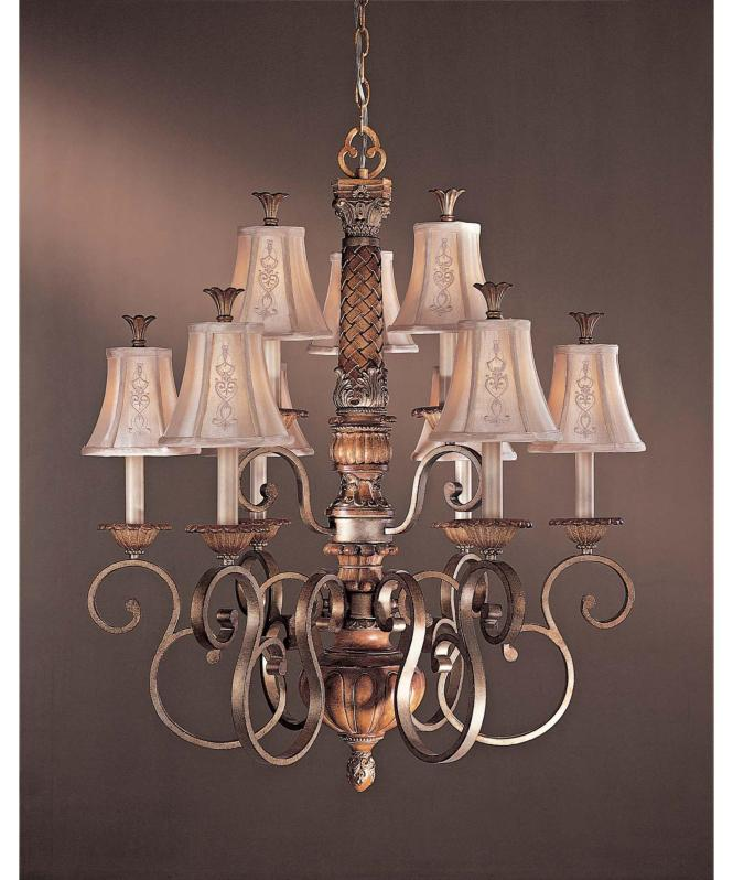 Shown In Tuscan Patina Finish And Embroidered Faux Silk Shade