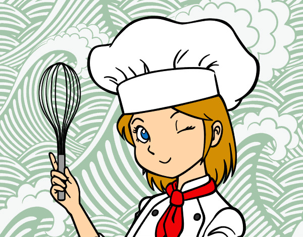 Colored Page Cooking Girl Painted By Debi